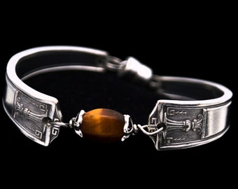 Spoon Bracelet with Tiger's Eye, Vintage Silverware Bracelet, Tigers Eye Stone Jewelry, Silver Spoon Gifts Under 40 for Her