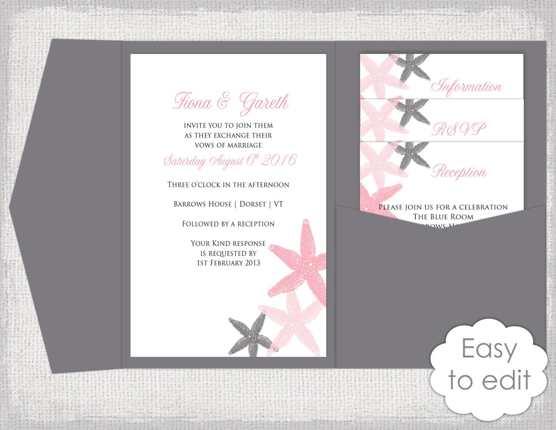 Wedding Invite Templates Uk: Pocket Wedding Invitation Template DIY Beach Salmon And