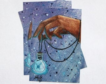 Fairy in a Bottle Art PRINT 4x6 - Original Watercolor Painting - Home Decor, Wall Art