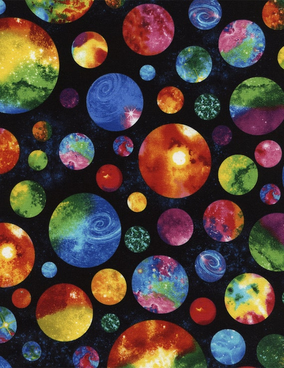 Multi planets fabric c4845 fat quarter half yard or by the for Space fabric by the yard
