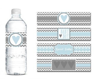 Water Bottle Wrap Baby Shower - Blue and Grey Chevron Water Bottle Labels - Baby Boy Water Bottle Wrapper - Water Bottle Label Blue - Boy
