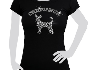 Ladies T-shirt cotton Rhinestones Dog Chihuahua