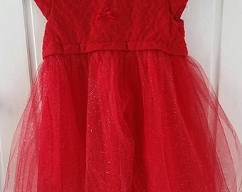 Baby Girl Party Dress, Vintage Style Red Sparkle Cotton & Tulle Party Dress, 9 - 12 months
