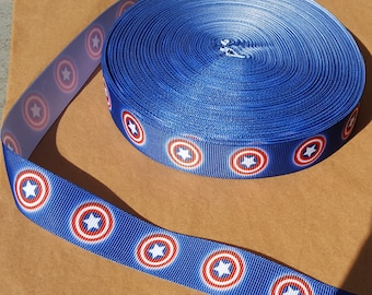 Captain America printed grosgrain for hair bows, scrapbooking, other crafts - sold in lengths of 1, 3, or 5 yards - M1659
