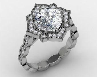 Forever Brilliant Moissanite Engagement Ring 2.40ct Cushion Cut Center  .33ct Natural Diamonds 18k White Gold Vintage Wedding Ring
