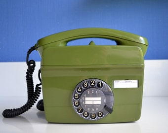 Wall Mount Rotary Telephone,  Fully Working Vintage Phone, German Retro Rotary Phone, Rare Rotary Wall Mount Telephone, Phone for Bar Decor