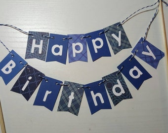 "Cake Bunting, ""Navy Blue"", Happy Birthday, Cake Topper, Paper cake banner"
