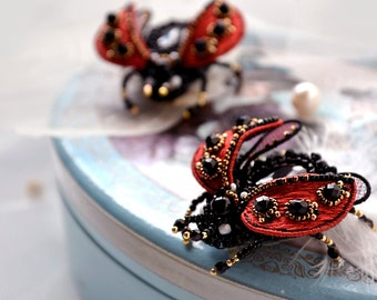 Ladybug brooch red black handcrafted Lady cow jewelry Ladybird beetle insect art Bridesmaid gift pin small Ladybug brooch Spring wedding