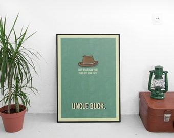 Uncle Buck minimalist A3 artwork (framed or unframed options available)