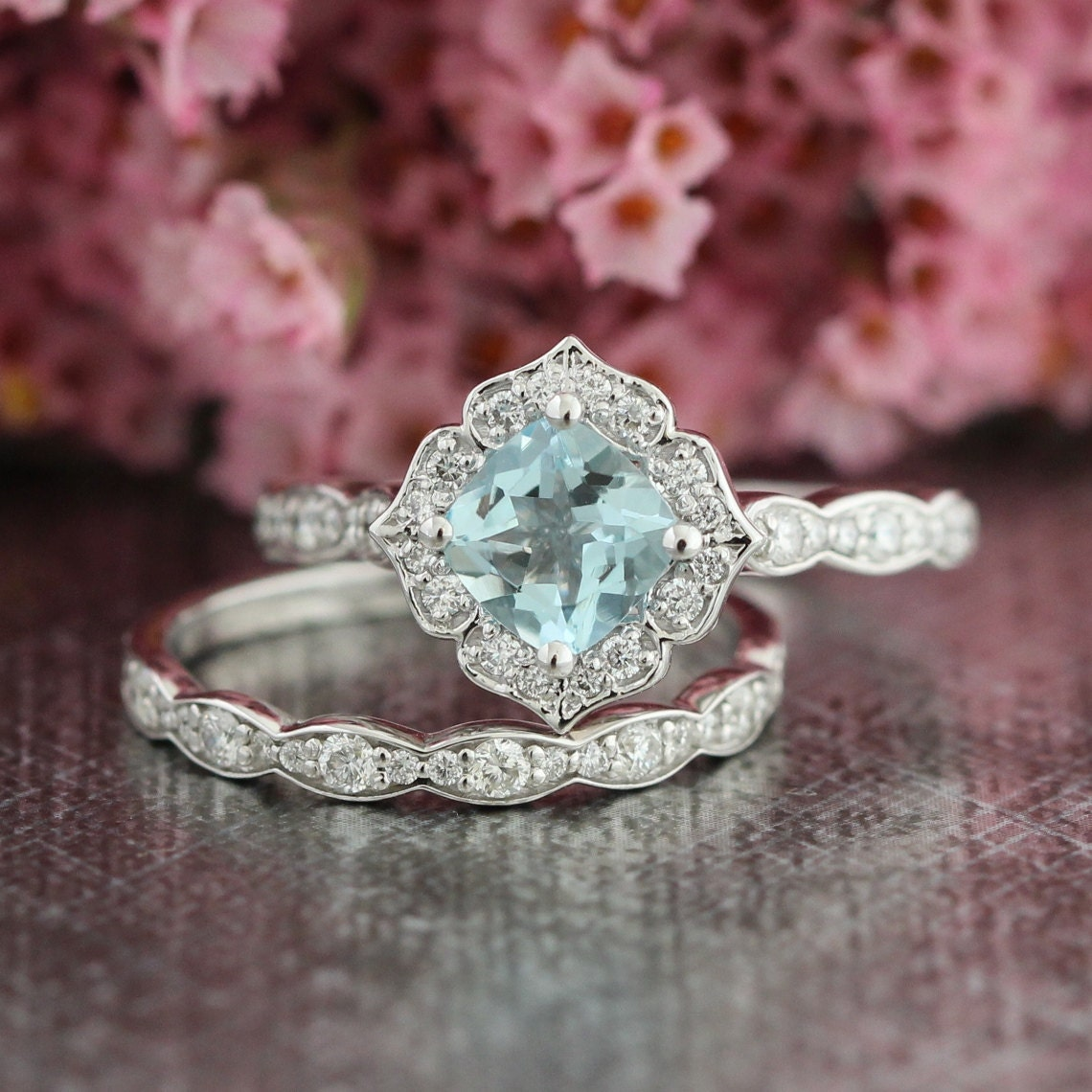 Mini Vintage Floral Aquamarine Engagement Ring and Scalloped