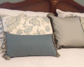 "Pillow with Tassel Fringe - 12"" x 22"" - pillows - throw pillows - decorative pillows"