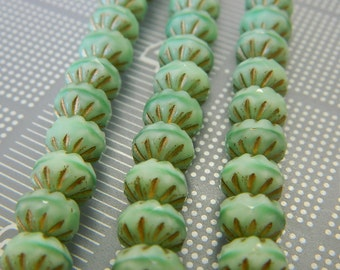 Mint Green Czech Fire Polished Cruellers Opaque 7x10mm - Authentic Czech Fire Polished Beads - 18 Beads Per Bead Strand
