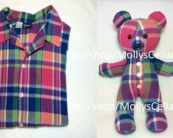 Memorial bear, memory bear, keepsake teddy bear, custom memory bear, bereavement bear, bear from shirt, bear from clothes, Read Item Details