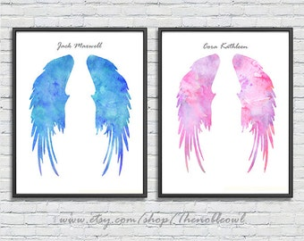 Angel wings, custom names, watercolor art print - set of 2 prints - blue and pink