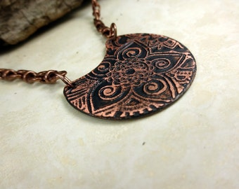 Unique Handmade Etched Pendant Copper Necklace.  Copper & Antique Copper Necklace.  Boho Etched Flower and Swirl Design Necklace.