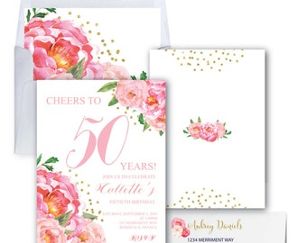 50th Birthday Invitation // Fiftieth Birthday Invitation // Pink Floral // Flowers // Peony // Pink // Gold Glitter // BORDEAUX COLLECTION