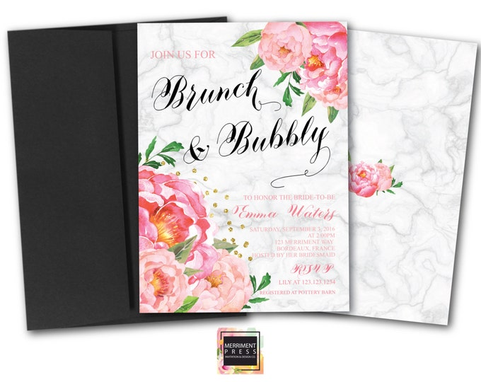 Brunch and Bubbly Invitation // Marble // Peonies // Peony// Bridal Shower Invitation // Pink // Gold Glitter // BORDEAUX COLLECTION