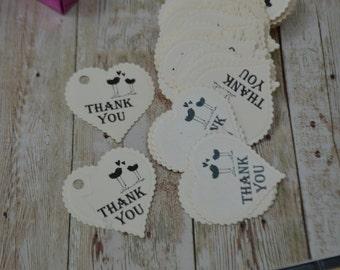 set 50 pc Heart tags - Thank you Tags - Wedding Favor Tags - Gift Tags - Hang Tags