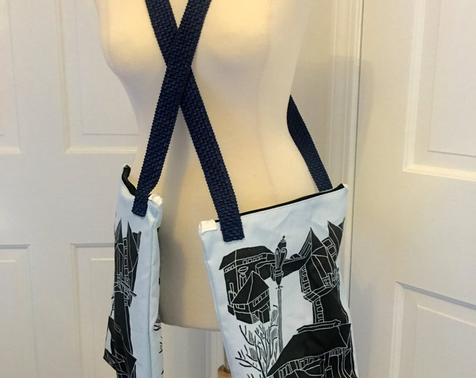 """Custom fabric / an exculsive artist picture messanger bag 11 x 14"""" with 44"""" handle"""