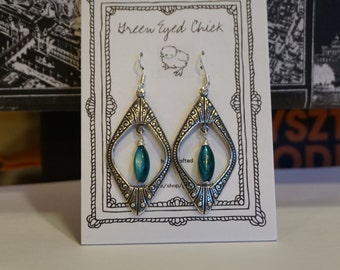 Etched Silver and Turquoise Earrings