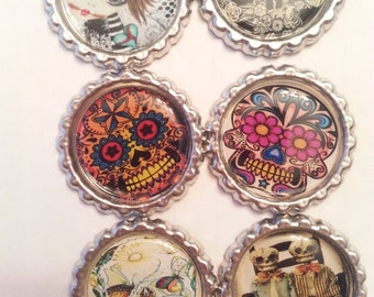 Skull Bottlecap Magnet Collection- Skull Bottlecaps- Skulls- Rockabilly Skulls- Day of the Dead- Day of the Dead Skulls- Magnets