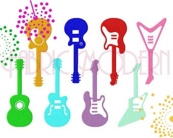 GUITARS Embroidery Design, eight designs smooth fill and applique' for largest size  #408