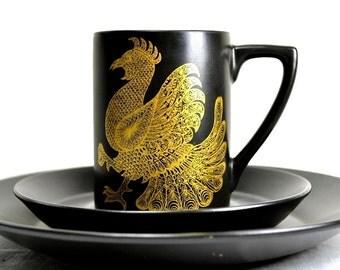 Portmeirion Phoenix Coffee Mug Pottery Plate Set - Demitasse Brown with Gold Phoenix Bird, Boho Stoneware for Earthy Decor