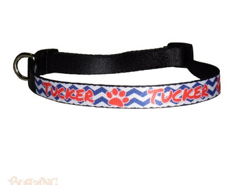 Personalized Dog Cat Chevron Collar Pet Identification Collar with name and Pet Leash - #AC34
