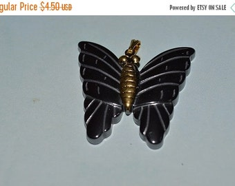 LIMITED TIME SALE Vintage Hematite Butterfly Pendants. (1060278)