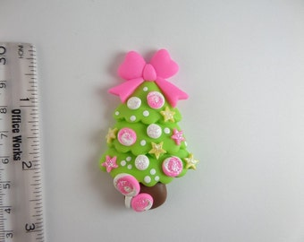 Christmas tree, Candies. Clay Charm Bead, Scrapbooking, Bow Center, Pendant, Cupcake topper, Magnet