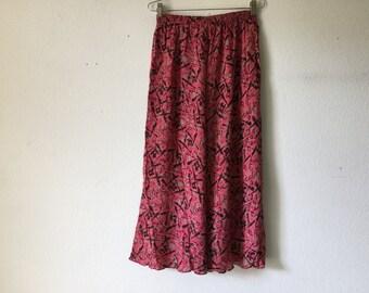 FREE SHIPPING Vintage Skirt - 80s Maxi Silk