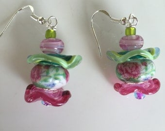 Gorgeous Bright Green and Pink Rose Garden Lampwork dangly earrings on sterling french hook earwires.