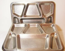 US Military Mess Hall Trays, 2 WWII Era, Carrollton 1943, Stainless Steel Divided Trays, Cafeteria, Lunch Room, Compartmented Serving Tray