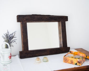 "Unique mirror- Wood design- Interior decor- Rustic mirror- Reclaimed mirrors- home decor- Vintage- 23""x18"""