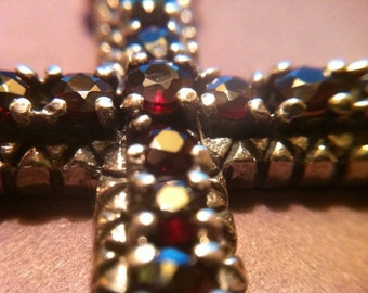 Important red garnets 925 sterling silver cross with bruno, vintage anni ' 90