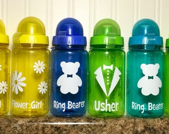 Personalized Wedding Gift Water Bottles with Vinyl