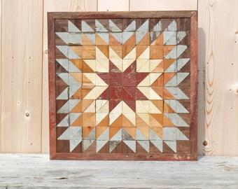 barn quilt block, indian star quilt block, salvaged wood wall art