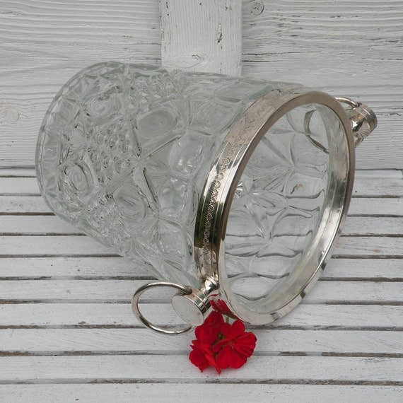 French vintage retro pressed glass ice bucket, Retro barware, glass ice bucket, glass wine cooler, champagne cooler