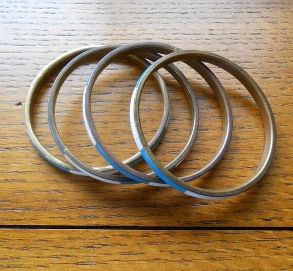 Four Enamel Bangle Bracelets Turquoise and White