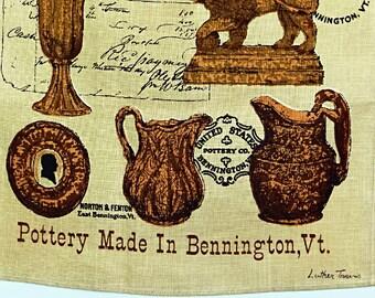 Linen Tea Towel Luther Travis Design Bennington Pottery Gift Idea