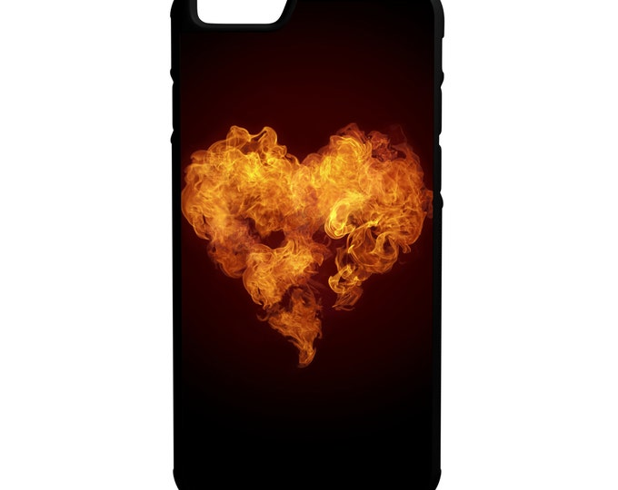 Heart On Fire iPhone Galaxy Note LG HTC Hybrid Rubber Protective Case