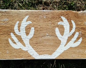 Rustic Wooden Deer Antlers Big Buck Woodland Nursery Sign Wall Art Decor