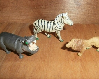 Vintage Noah's ark Germany made animals set of three composition like Hippo Lion Zebra for train village or your zoo