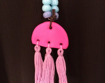 Polymer clay, glass bead, tassel necklace