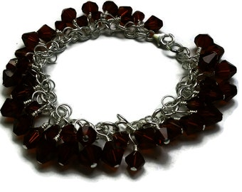 Swarovski Birthstone Charm Bracelet - January Garnet in Silver - Custom Made to Order - Alternate Colors Available - BRC095
