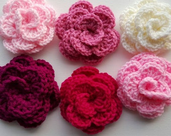 Crocheted roses, group 3, crafting, pinks, ready to ship