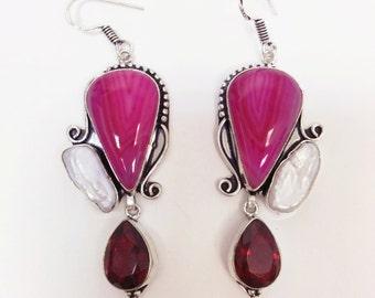 Mixed Gemstones Earrings, 925 Sterling Silver Plated, Wedding Earrings, Huge earrings, long Earrings, oriental style earrings, BOHO Earrings