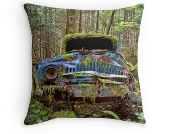 Car Gifts, Gift for Him, Rustic Decor, Car Pillow, Abandoned Cars, Old Cars, Car Decor, Old Car Decor, Car Cushion, Antique Cars