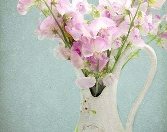 Still Life Print, Sweet Pea Photograph, Wildflower Bouquet, Garden Decor, Pastel Art, Flower Photography, Vintage Pitcher, Pastel Print