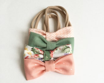 Vintage Floral Bouquet MINI Girls Hair Bows - Set of Four (4) // Girls Bows - Includes All 4 Shown. Newborn - Toddler Bows
